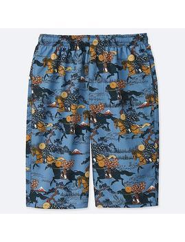 Men Hokusai Blue Light Cotton Easy Shorts by Uniqlo