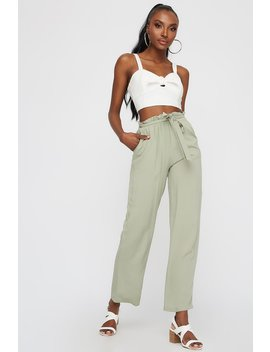 High Rise Belted Paperbag Palazzo Pant by Urban Planet