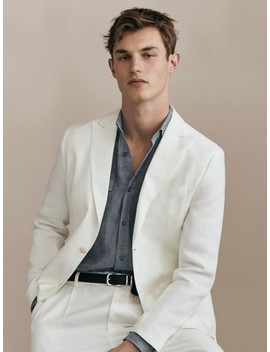 Limited Edition Slim Fit Plain 100% Linen Blazer by Massimo Dutti