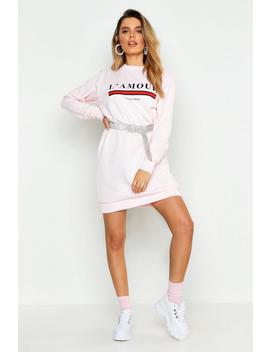 L'amour Slogan Sweat Dress by Boohoo