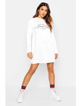 New York Slogan Sweat Dress by Boohoo