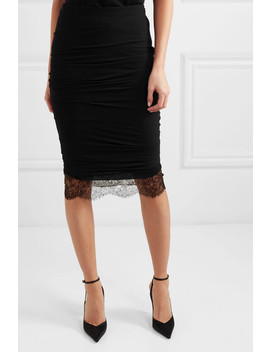 Lace Trimmed Ruched Stretch Crepe Skirt by Tom Ford
