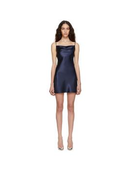 Navy Silk Cowl Neck Slip Dress by Fleur Du Mal