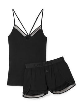 Mesh Trimmed Stretch Jersey Pajama Set by Calvin Klein Underwear