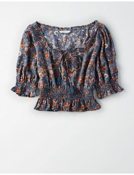 Ae Printed Smocked Off The Shoulder Top by American Eagle Outfitters
