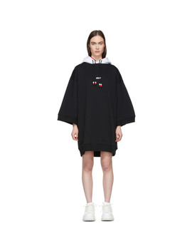 Black Double Hooded Short Dress by Msgm