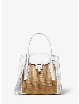 Bancroft Medium Whipstitch Calf Leather And Straw Satchel by Michael Kors Collection