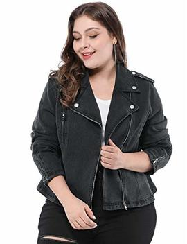 Agnes Orinda Women's Plus Size Convertible Collar Inclined Zip Closure Denim Biker Moto Jacket by Agnes Orinda
