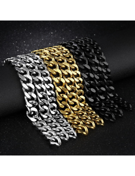 Men's Fashion 316 L Stainless Steel Bracelet Curb Lock Link Bracelet Chain Bangle by Kiroro