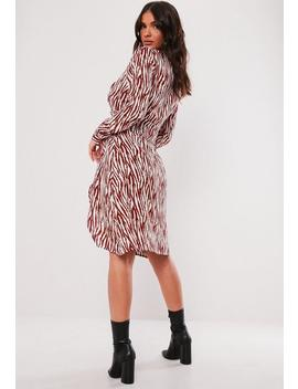 Red Animal Print Button Side Midi Dress by Missguided