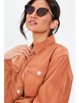 Brown Tortoiseshell Metal Sunglasses by Missguided