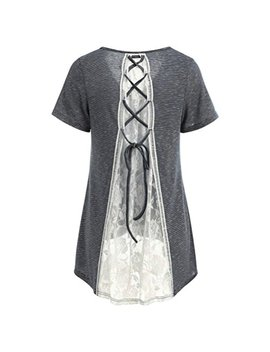 Hot Sale! Women Casual T Shirt Striped Split Back Lace Splice Embellished Crisscross Bandage Asymmetric Hem Tunic Tops by Challyhope