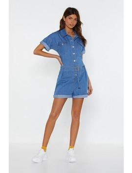 Play Nice Denim Belted Playsuit by Nasty Gal