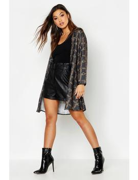 Chain Print Belted Wrap Kimono by Boohoo