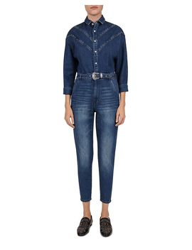 Studded Denim Belted Jumpsuit by The Kooples