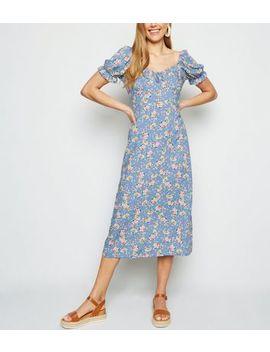 Robe Mi Longue Bleue Design Paysanne à Motif Floral Et à épaule Dénudée by New Look