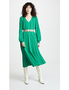 Split Neck Ruffle Dress With Slip by Tibi