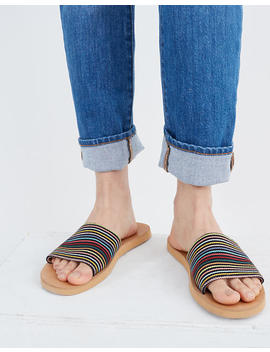 The Maddie Slide Sandal In Rainbow Stripe by Madewell