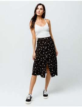 Sky And Sparrow Floral Button Front Midi Skirt by Tilly's