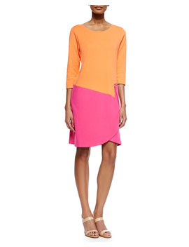 3/4 Sleeve Colorblock Dress, Fuchsia/Coral by Joan Vass