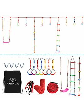 Rainbow Craft Hanging Obstacle Course For Kids   Portable 50' Ninja Slackline Monkey Bar Kit With 10 Hanging Obstacles Including Gym Ring, Climbing Ladder, Climbing Ropes And Swing Seat by Rainbow Craft