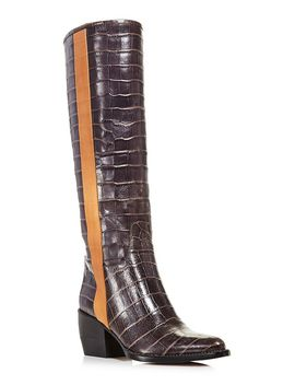 Women's Vinny Croc Embossed Leather Tall Boots by Chloé
