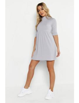 Petite High Neck Rib Smock Dress by Boohoo