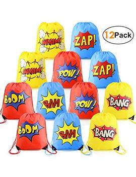 Superhero Party Supplies Favor Bags Drawstring Backpack 12 Pack Cinch Bag Bulk For Kids Girls Boys Birthday Gifts Yellow Blue Red by Bee Green