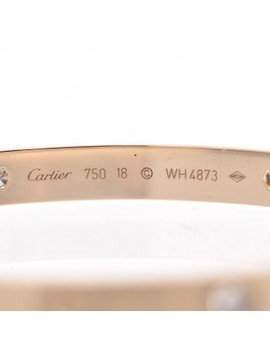 Cartier 18 K Yellow Gold 4 Diamond Love Bracelet 18 by Cartier