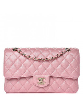 Chanel Iridescent Caviar Quilted Medium Double Flap Rose Pink by Chanel