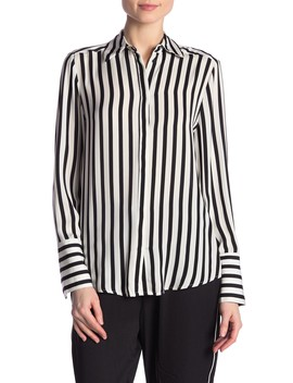 Striped Button Front Long Sleeve Blouse by Catherine Catherine Malandrino