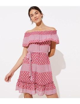 Loft Beach Mixed Dot Off The Shoulder Dress by Loft