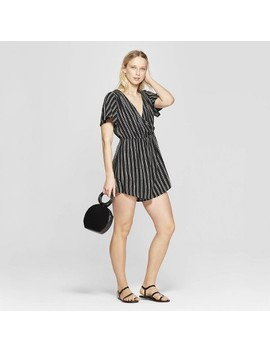 Women's Striped Short Sleeve V Neck Wrap Romper   Xhilaration Black/White by Neck Wrap Romper