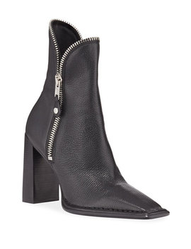 Lane Block Heel Leather Zip Booties, Black by Alexander Wang