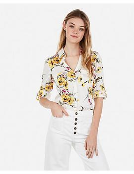 Original Fit Satin Floral Print Portofino Shirt by Express