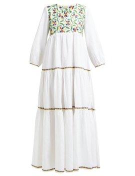Frangipani Floral Embroidered Cotton Blend Dress by Muzungu Sisters