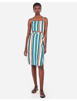 Striped Square Neck Cut Out Wrap Midi Dress by Express