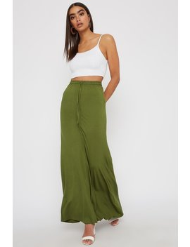 Jersey Drawstring Maxi Skirt by Urban Planet