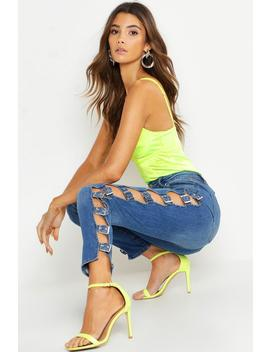 Buckle Detail High Waisted Skinny Jean by Boohoo