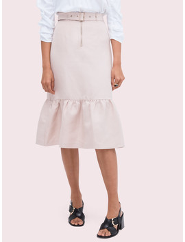 Belted Linen Flounce Skirt by Kate Spade