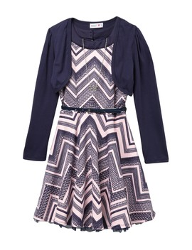 Belted Chevron Dress, Shrug & Necklace (Big Girls) by Beautees
