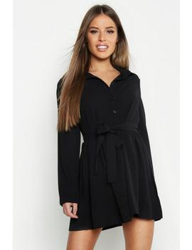Petite Smock Shirt Dress by Boohoo