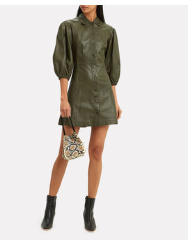 Balloon Sleeve Leather Mini Dress by Ganni