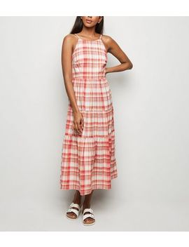 Pink Check Tiered Midi Dress by New Look