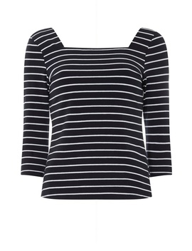 Petite Stripe Print Square Neck Top by Dorothy Perkins