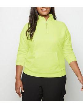 Curves Yellow Neon Half Zip Sweatshirt by New Look