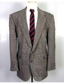 Euc Haggar Gray Colorful Fleck Wool Donegal Tweed Blazer Chin Strap Pads 46 L by Haggar