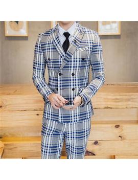 Terno Men Prom Business Tuxedo Slim Fit 3 Piece Groom Wear Blazer With Plaid by Unbranded