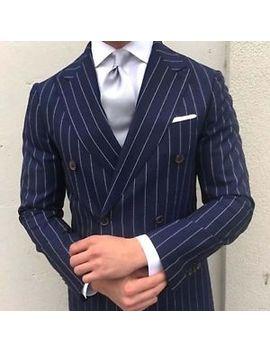 "Men Navy Blue Stripes Suits Designer Wedding Grooms Dinner Suits (Coat+Pants) by ""Handmade"""