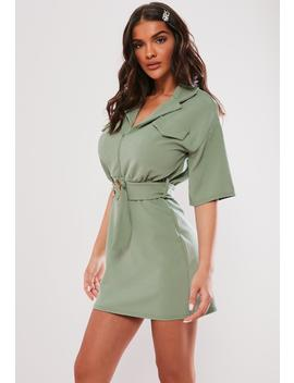 Mint Green Utility Buckle Shirt Dress by Missguided